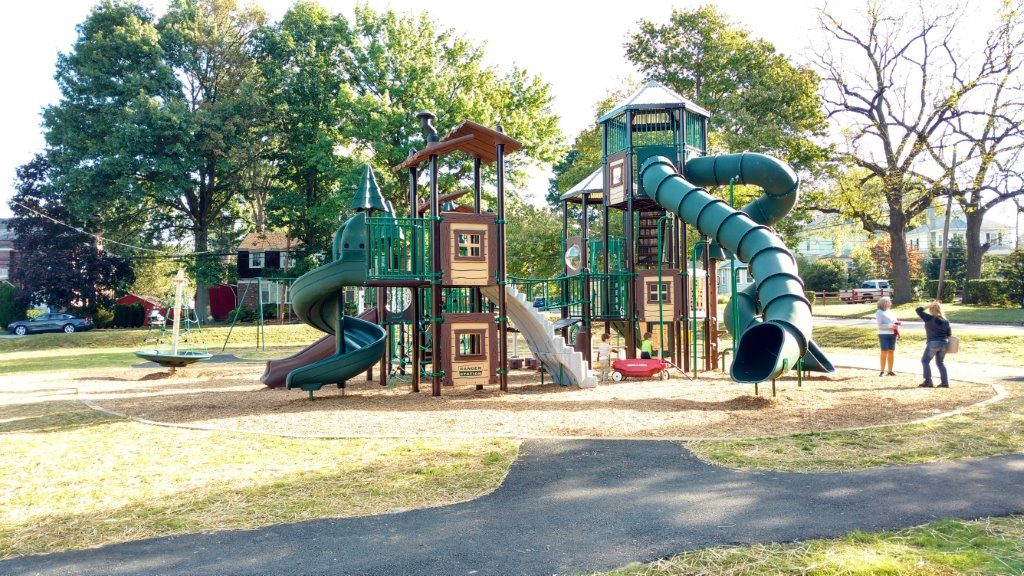 playground at park with huge slide