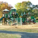 playground at the park with pathway