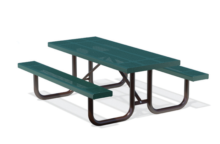 picnic bench with green top