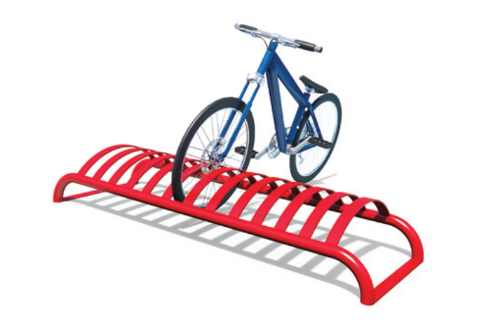 red bick rack with blue bike