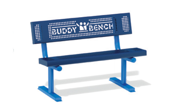 blue bench with the words, Buddy Bench, scribed in the back