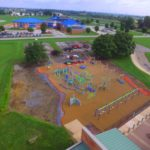 arial view of large playground behind school
