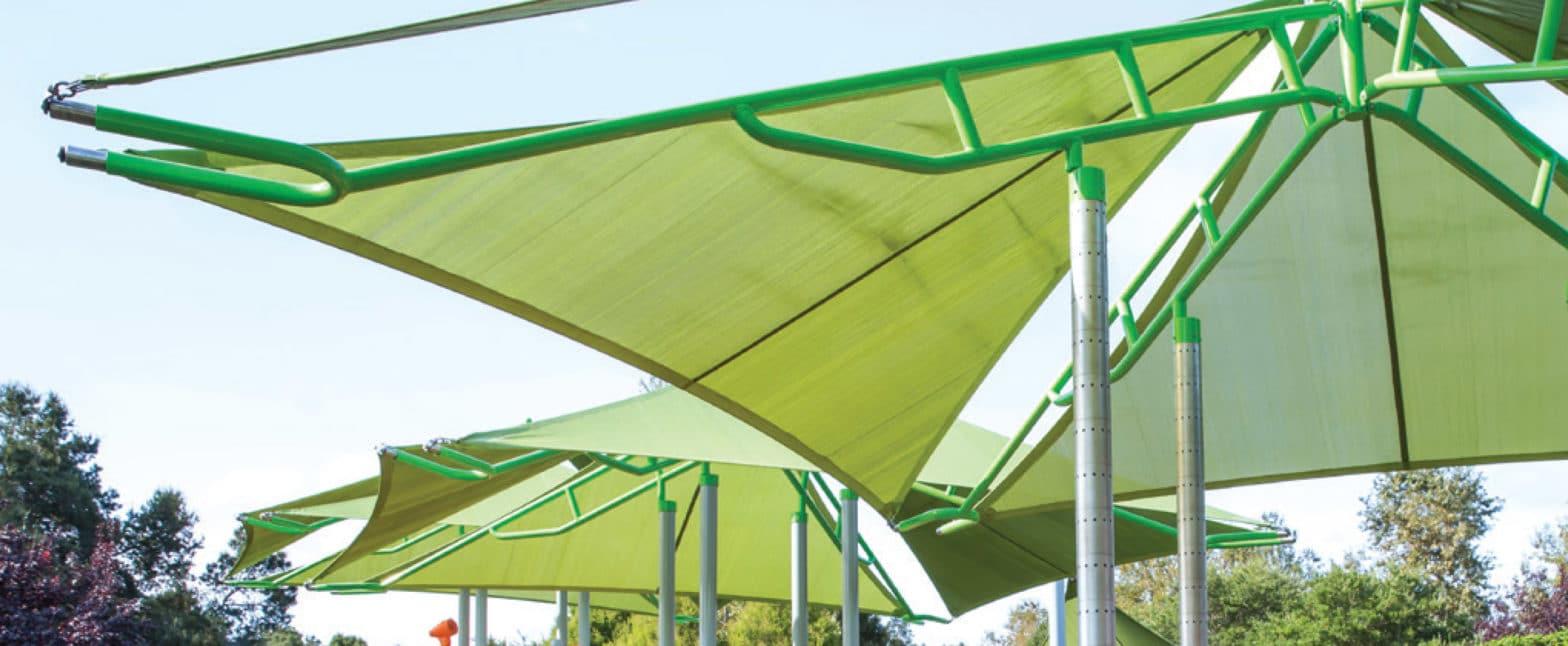 green sun shade over playground
