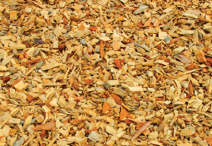 closeup of wood mulch