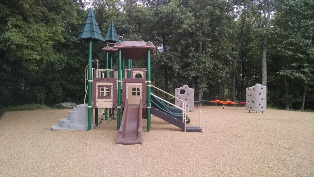 treetop playground with doors and slide