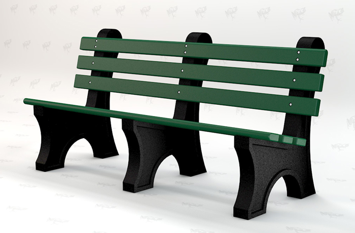 brown and green bench made from recycled products