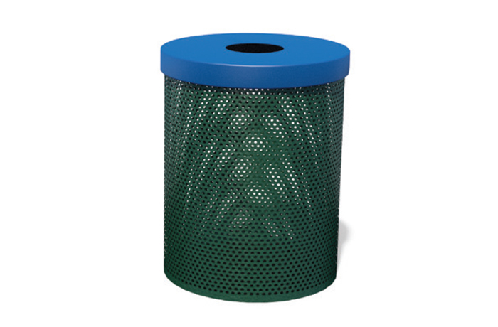 green metal park trash can