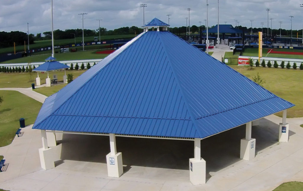 large shelter roof at sports complex
