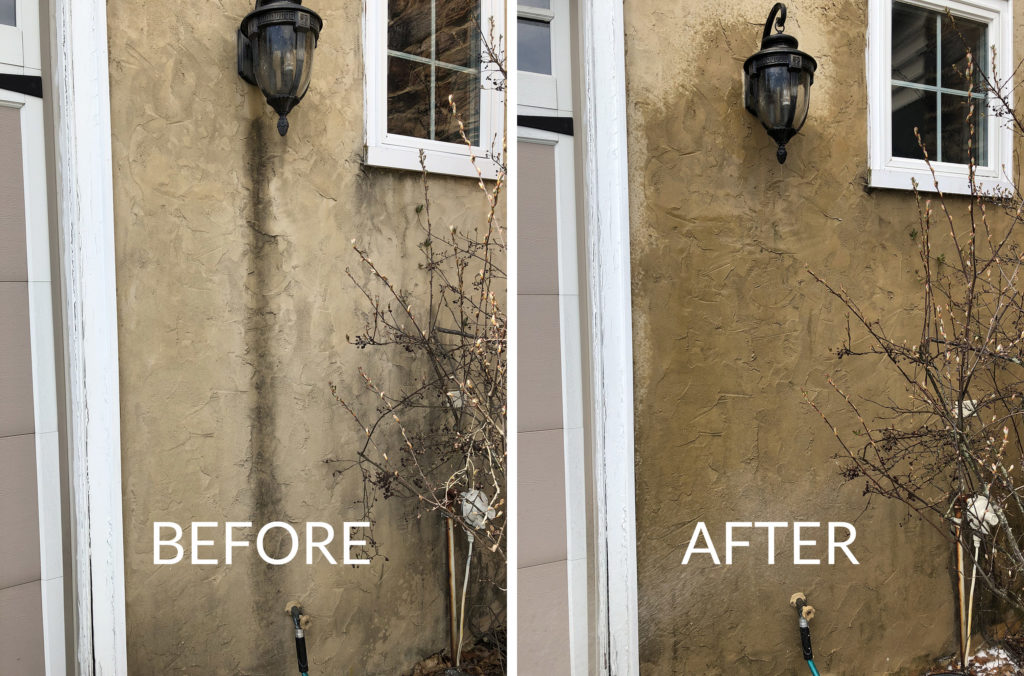 before and after photo of foam cleaner on exterior stain